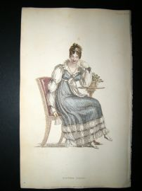 Ackermann 1815 Hand Col Regency Fashion Print. Dinner Dress 14-16